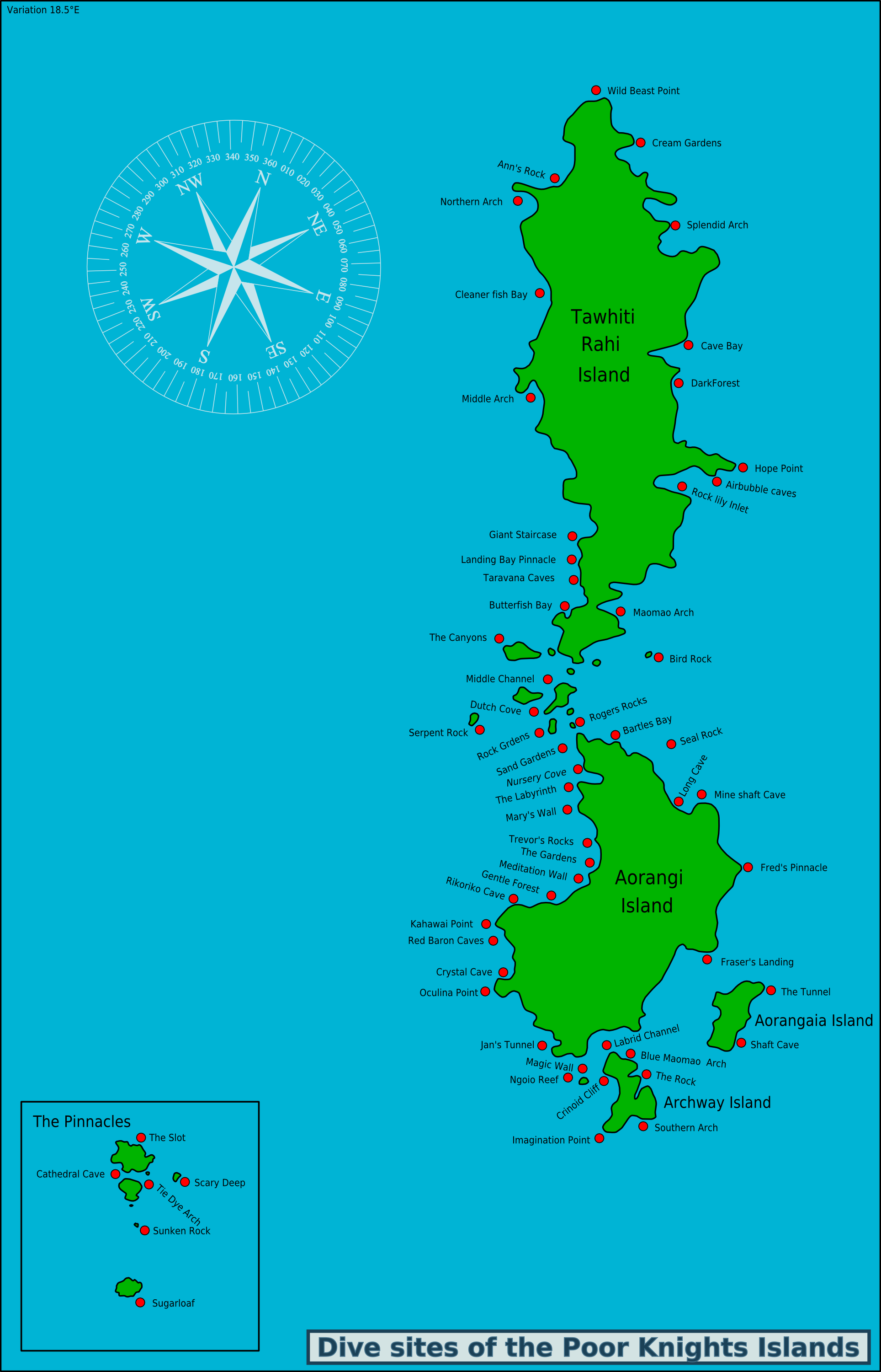 Map Of Poor Knights Islands