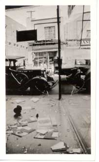 Damage from the Regina Riot in 1935. The riot was the culminating event of the On-to-Ottawa Trek, a protest regarding the conditions in federal relief camps.