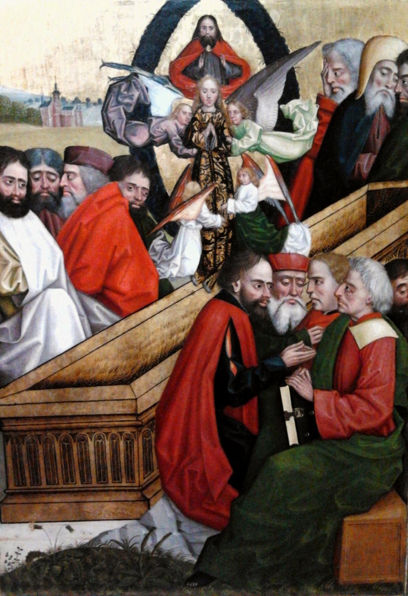 Maria wird von Engeln in den Himmel getragen. Absolon Stumme, um 1499. (Warschau, Polnisches Nationalmuseum.)