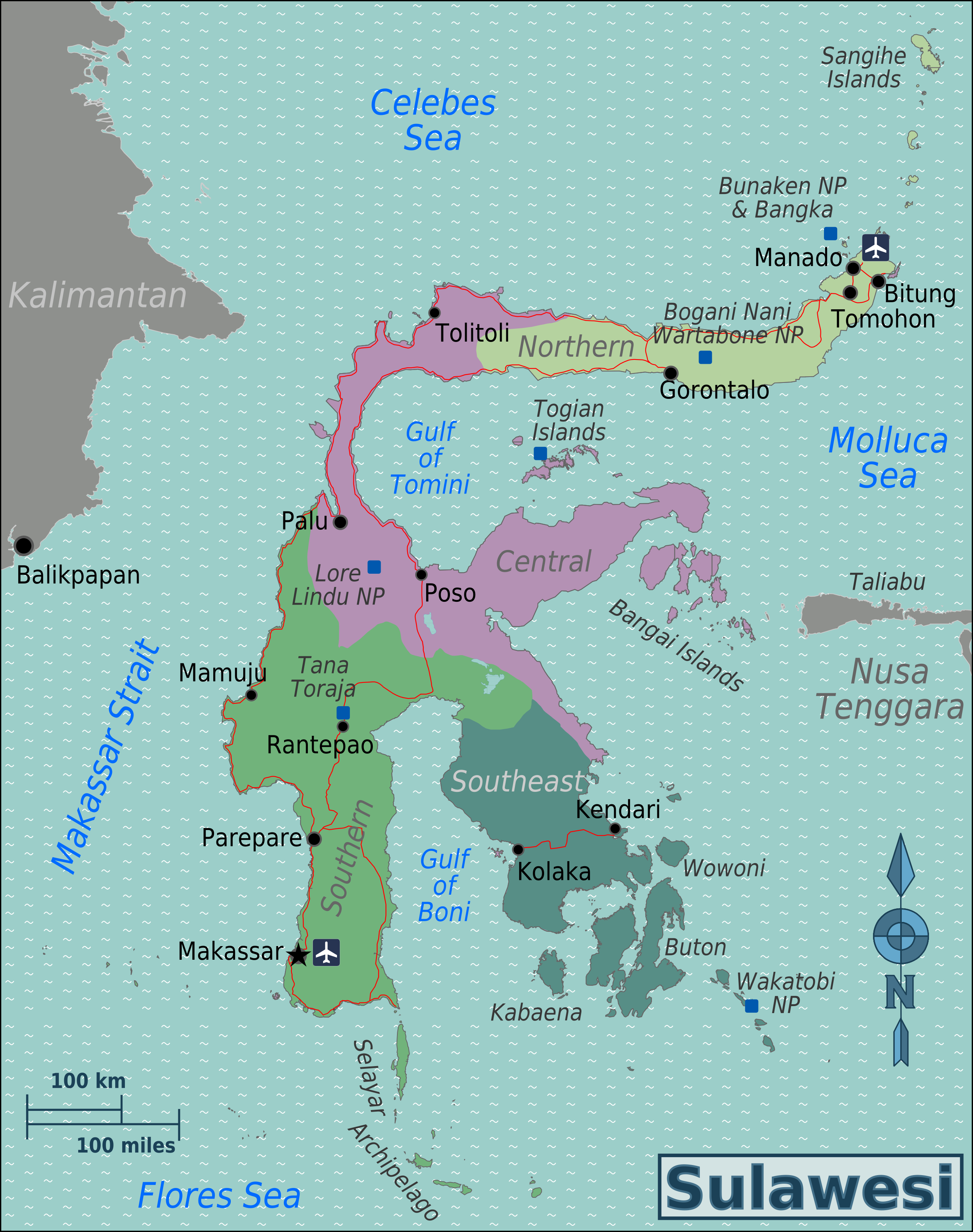 file sulawesi regions map png   wikimedia commons