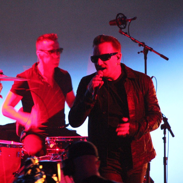 U2 performing at the Apple product launch in September 2014 at which Songs of Innocence was announced