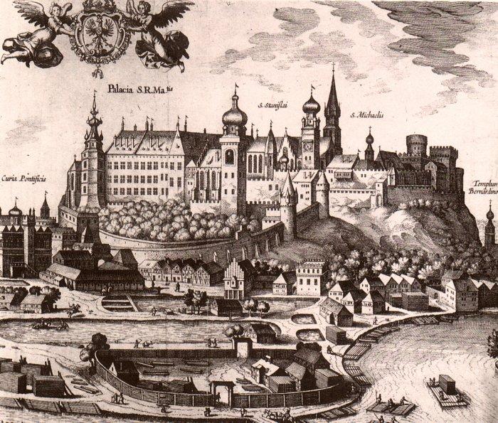 Chateau de Wawel fin 1500, dessin de Georg Braun et Frans Hogenberg.
