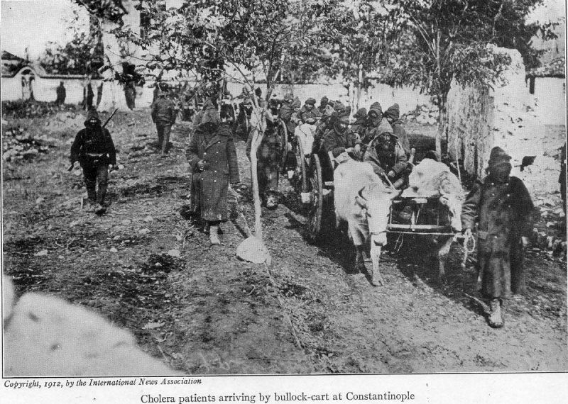 With the conquered Turk (1913) cholera patients arriving.png