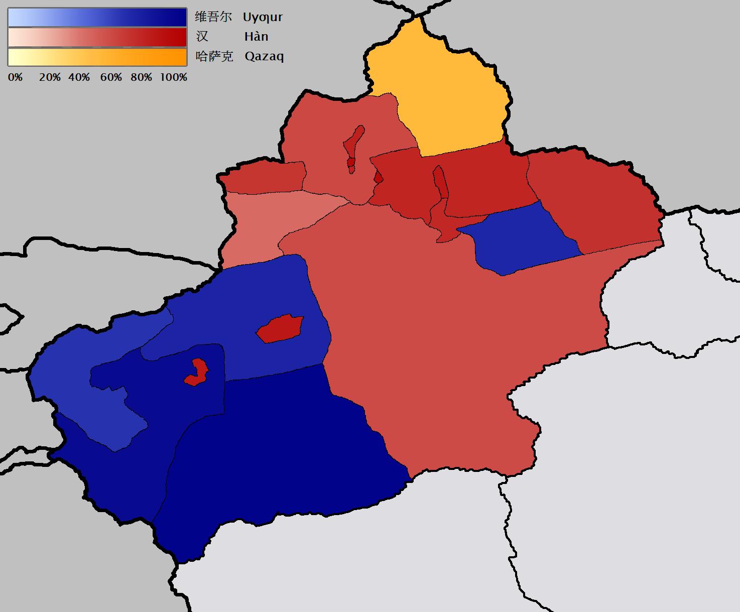 Blått för andel uigurer och rött för andel hankineser