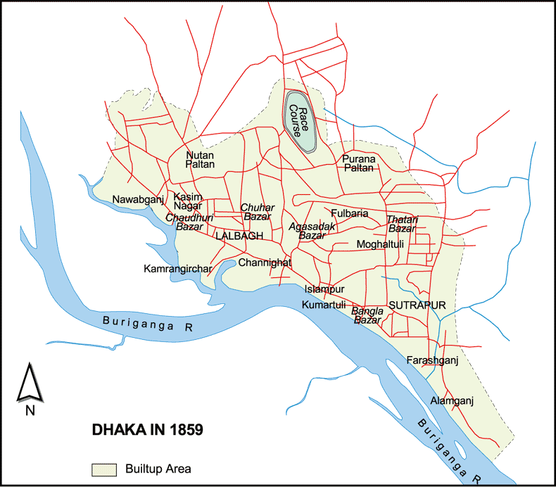 Dhaka in 1859. (map)