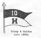A picture of a B&W sketch of the 10th U.S. Cavalry, H Troop Guidon with staff headed by spear point. Inscription reads: Troop H Guidon Late 1880s.