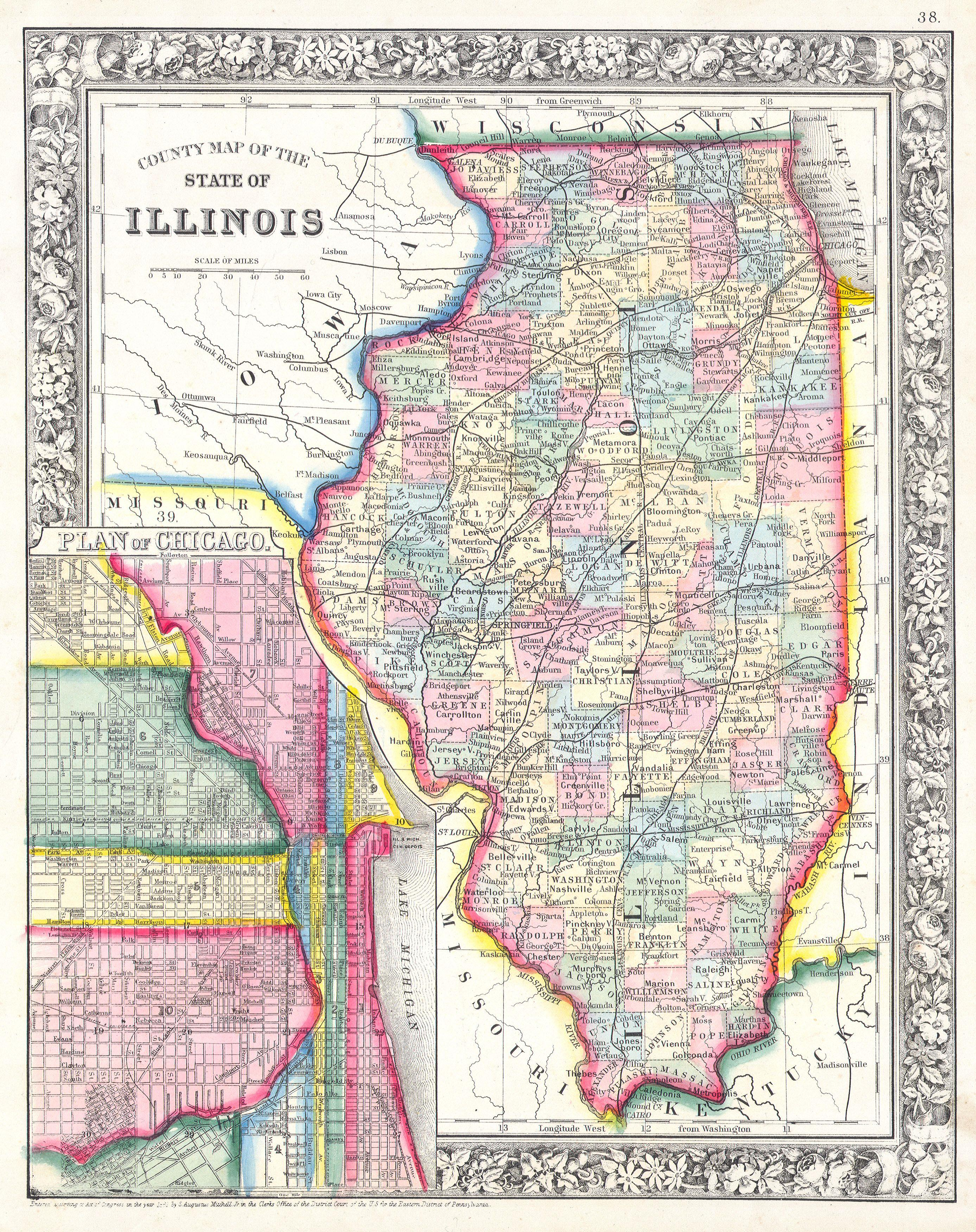 File Mitchells Map Of Illinois W Chicago Inset - Maps of illinois