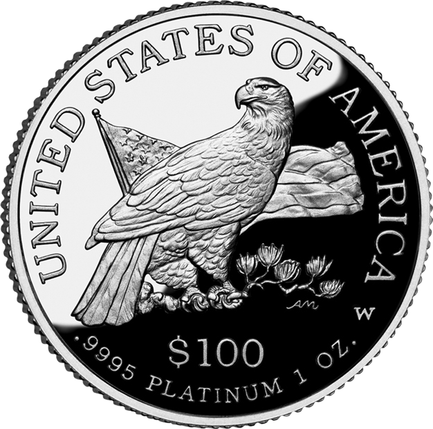 reverse side of the 2003 American Platinum Eagle proof coin
