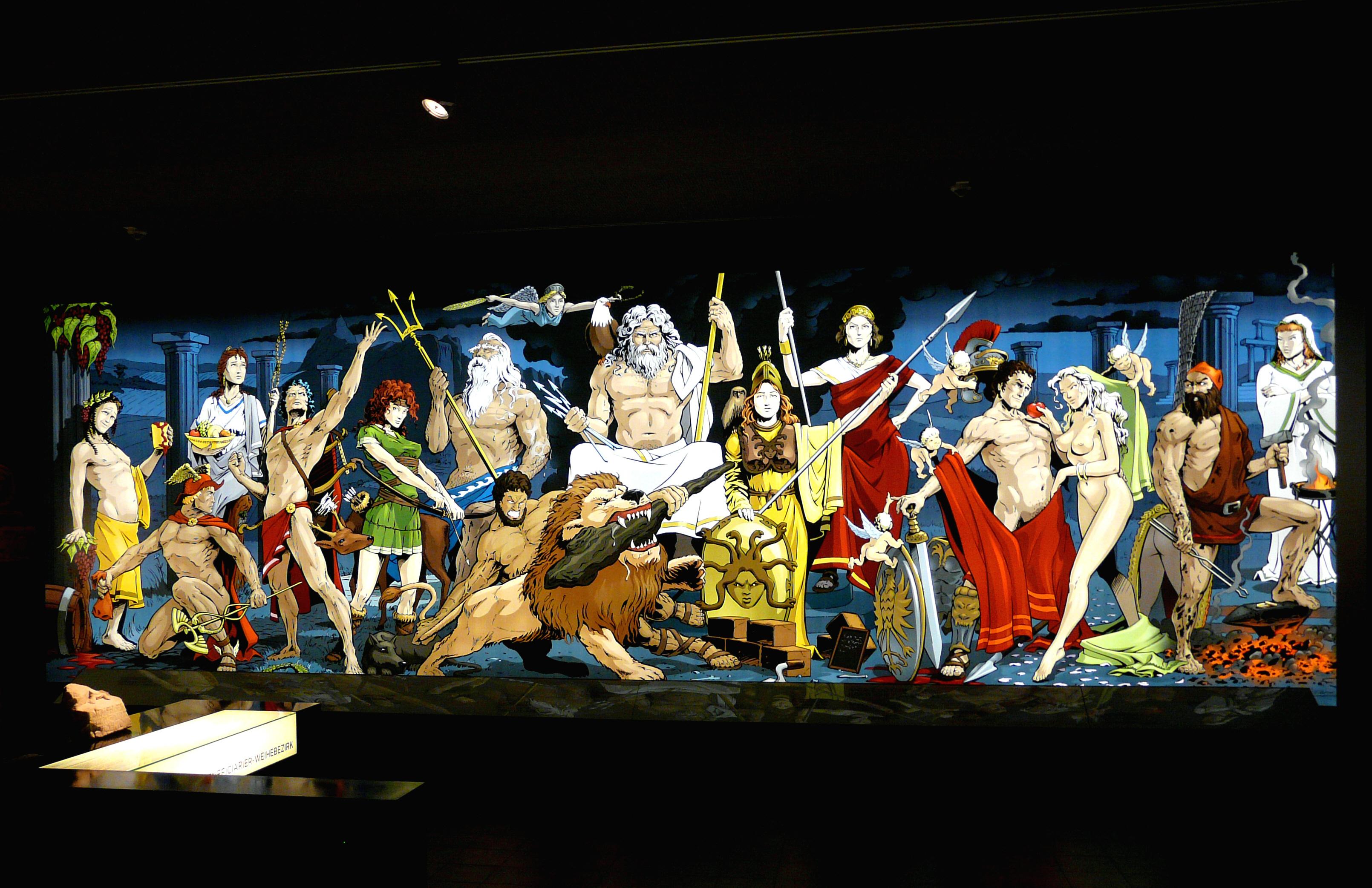 Bild der römischen Götterwelt im Römermuseum Osterburken, © Hartmann Linge, Wikimedia Commons, CC-by-sa 3.0