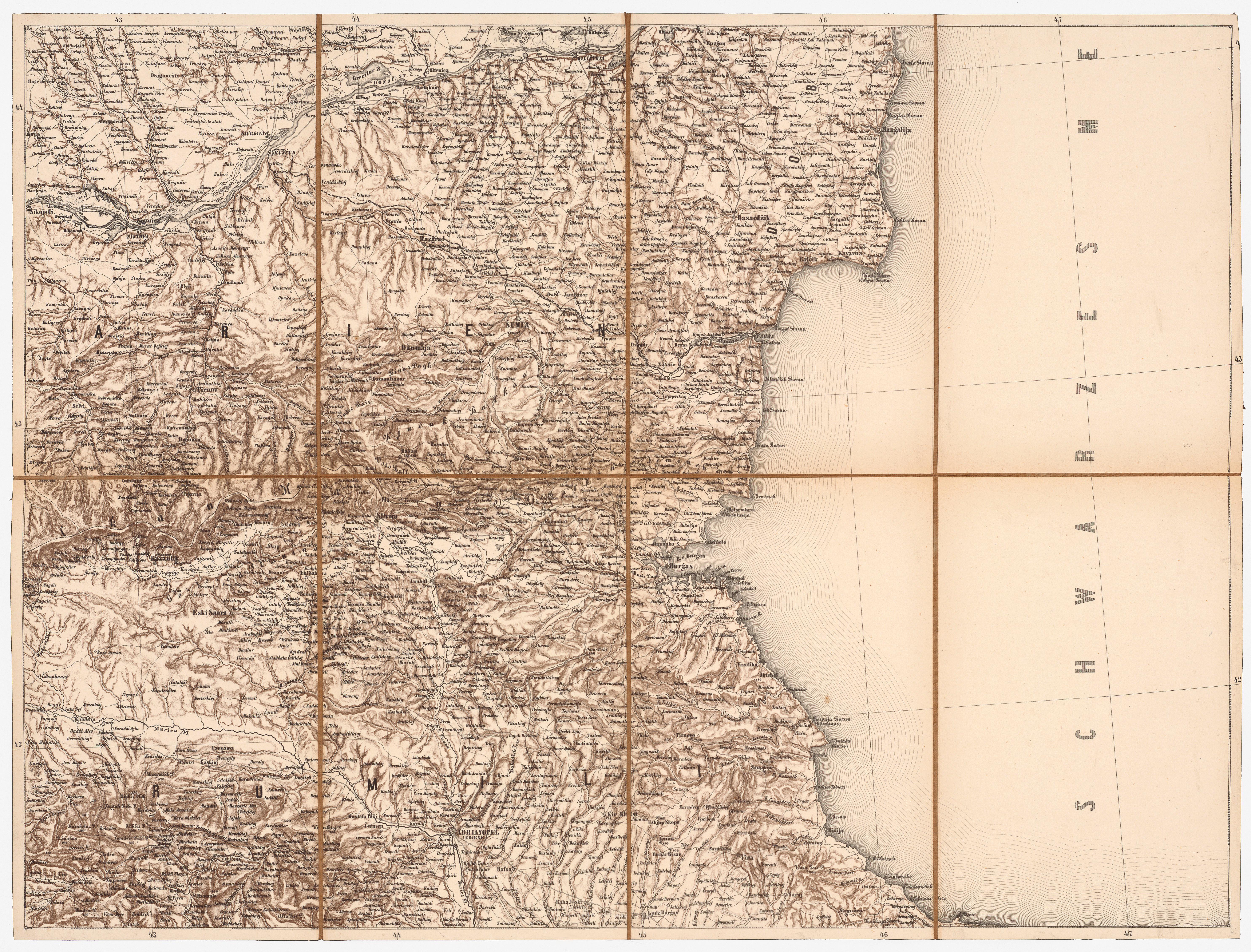 Karte Bulgarien.File 6 Mittl Bulgarien Schwarzmeerkuste Scheda Karte