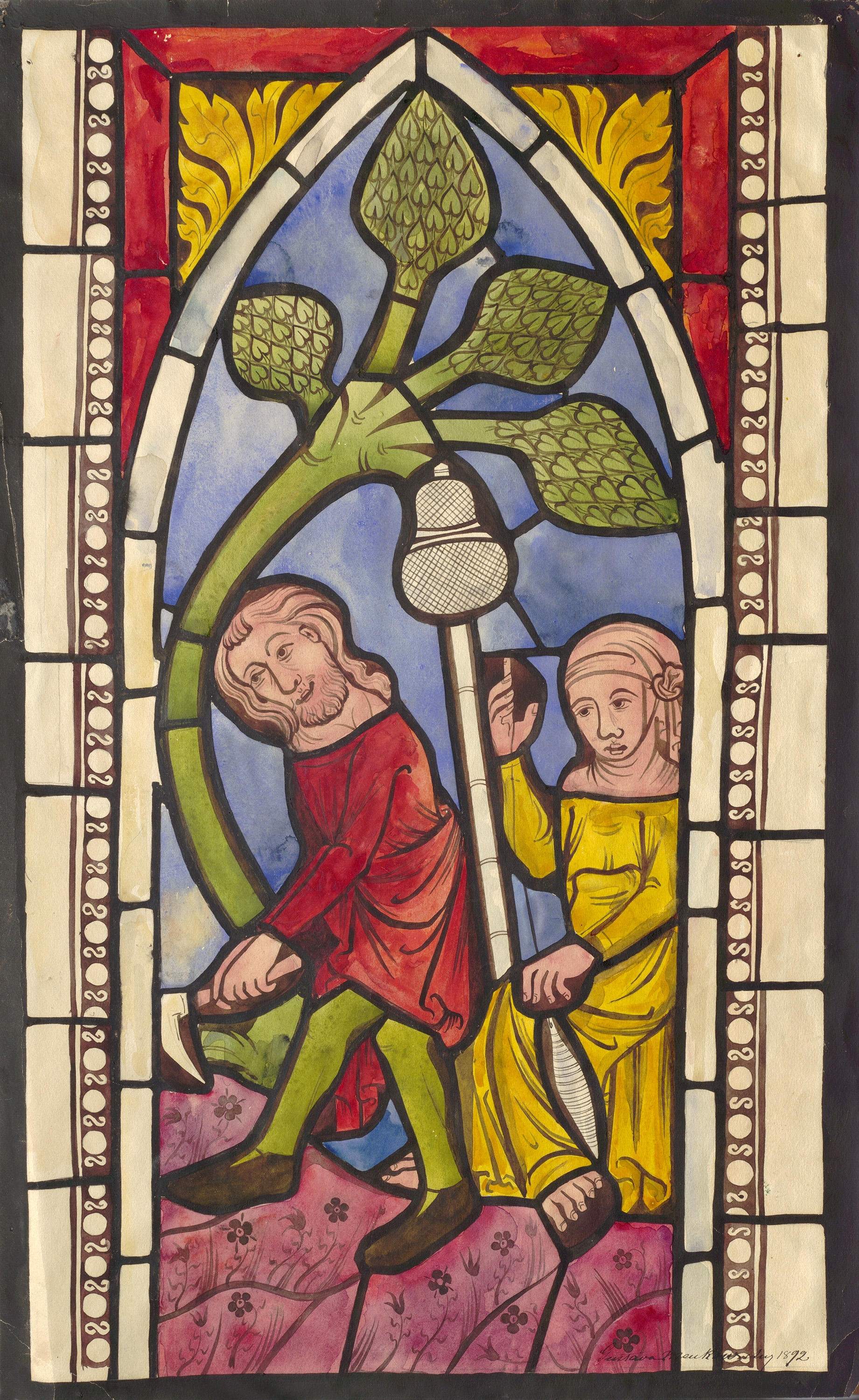 Depiction Of Medieval Stained Glass Window Hejde Gotland