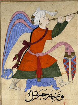 An Islamic depiction of archangel Gabriel from book 'The Wonders of Creation and the Oddities of Existence', 14th century. - Gabriel