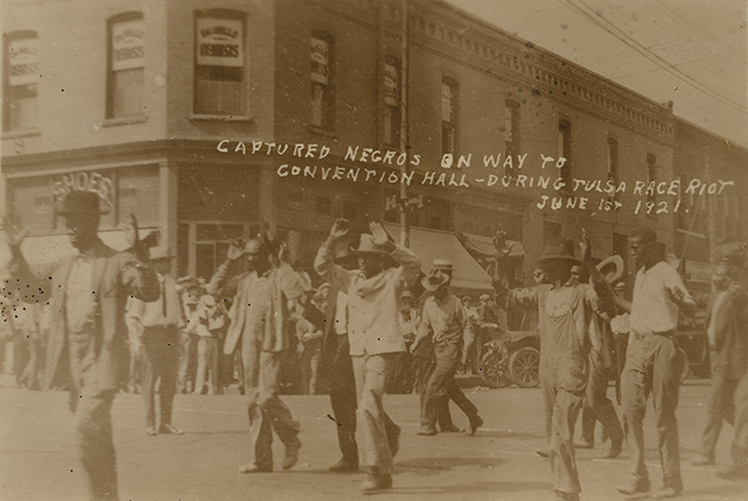 Captured Negros on Way to Convention Hall - During Tulsa Race Riot, June 1st, 1921 (14412915233) (cropped)