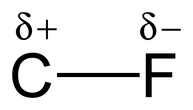 Diagram of ionic bond between carbon and fluorine