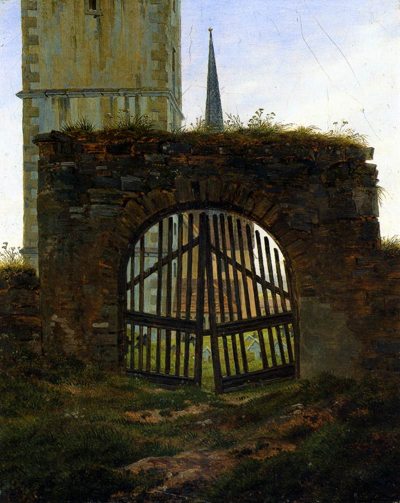file caspar david friedrich the cemetery gate the churchyard wikimedia commons. Black Bedroom Furniture Sets. Home Design Ideas