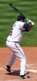 Woodward batting for the Atlanta Braves in 2007.