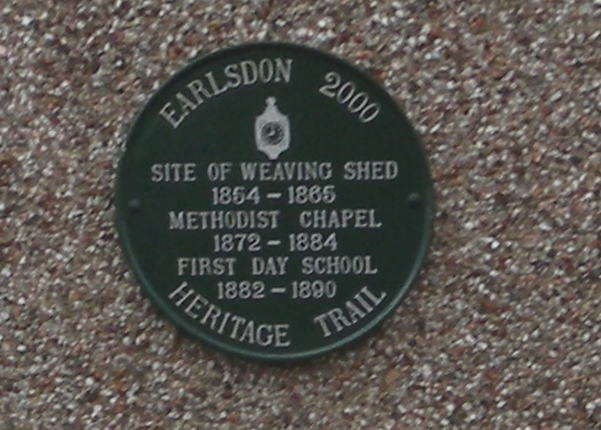 Photo of Day School, Earlsdon, Methodist Chapel, Earlsdon, and weaving shed, Earlsdon green plaque