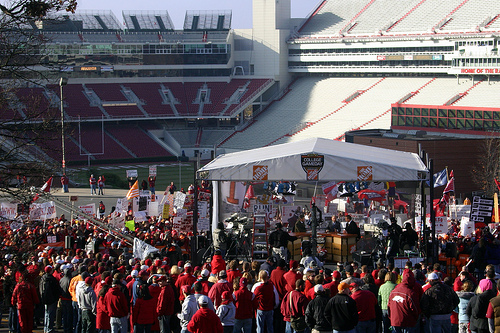 ESPN College Gameday at the University of Arkansas. Fans in Razorback Stadium (Fayetteville, AR).jpg