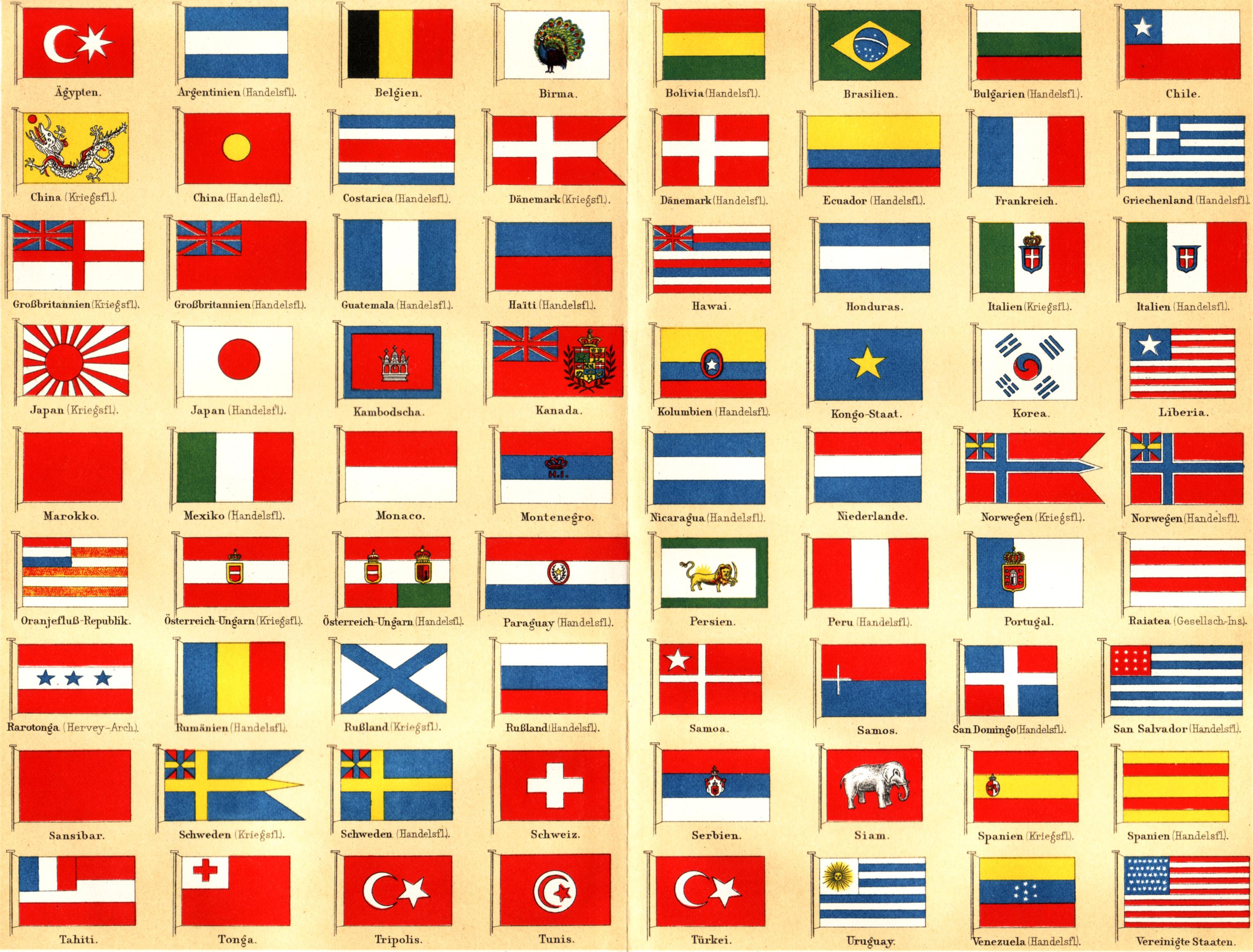 Drapeaux du monde &; allemagne , in meyers konversationslexikon (1889