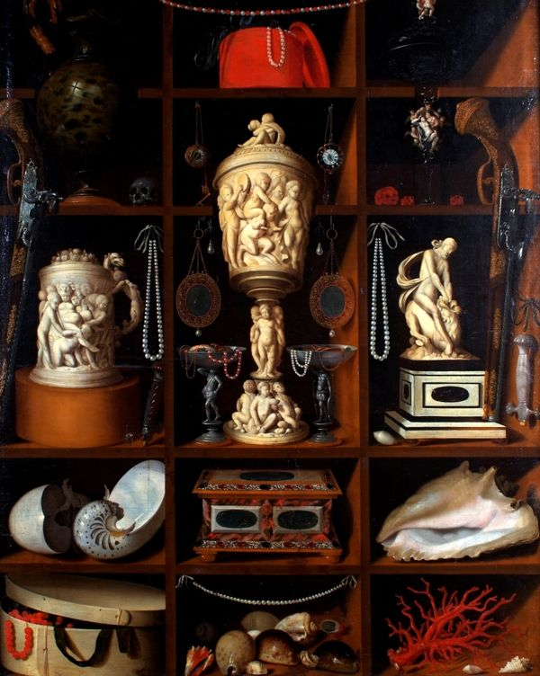 """Georg Hainz still life painting """"A Collector's Cabinet"""", 1664"""