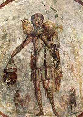 Good Shepherd fresco from the Catacombs of San Callisto with the cock at His right hand