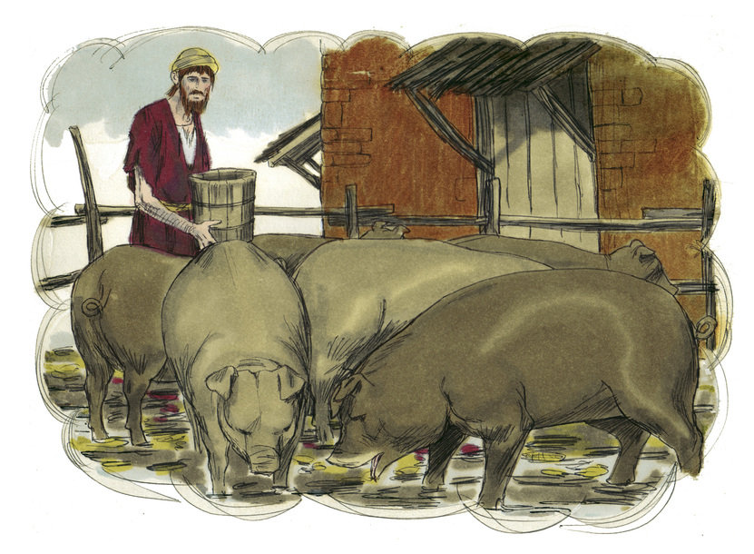 Parable of the Prodigal Son: In the pigpen