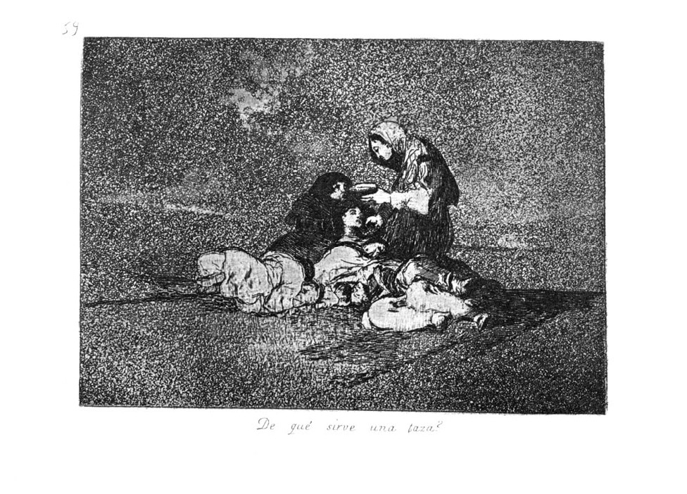 An engraving from Goya's Disasters of War, showing starving women, doubtless inspired by the terrible famine that struck Madrid in 1811-1812.