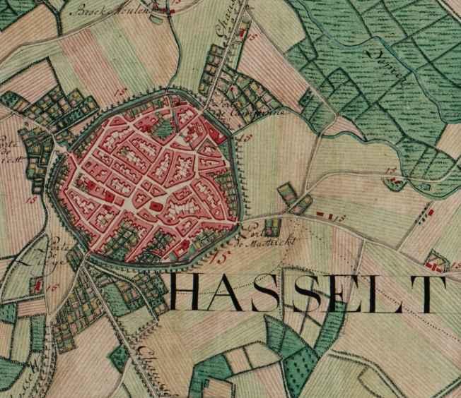 """Hasselt, Belgium ; Ferraris Map"" by Joseph de Ferraris (died 1 april 1814) - http://mara.kbr.be/kbrImage/ferraris/1617018.imgf. Licensed under Public Domain via Commons."