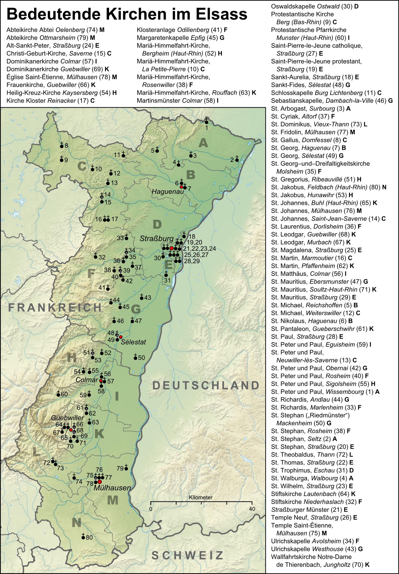 Elsass Auf Karte.Liste Bedeutender Kirchen Im Elsass Wikipedia