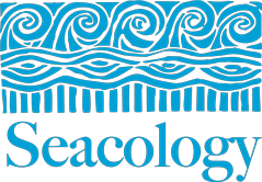 The logo of Seacology, showing waves, stripes, and landmasses above the name Seacology