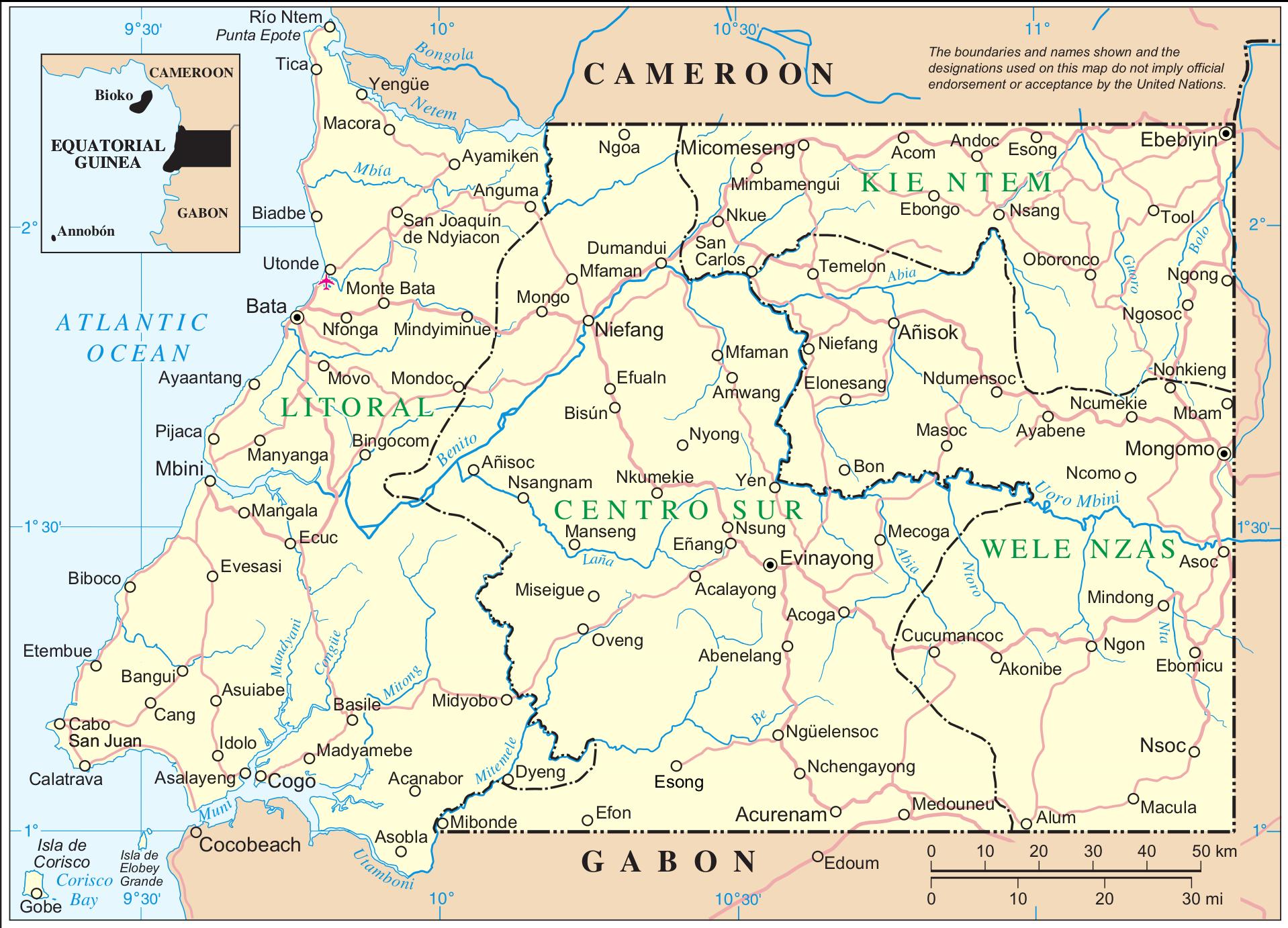 Afrika Karta Guinea.Rio Munis Vikipedija