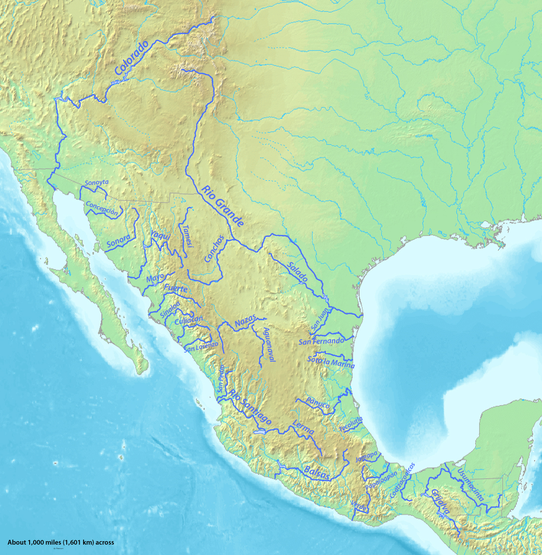 rivers in mexico map map of mexico mountain ranges rivers planetware