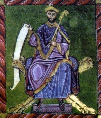 Miniatura medieval que representa al rey Fruela II de León.