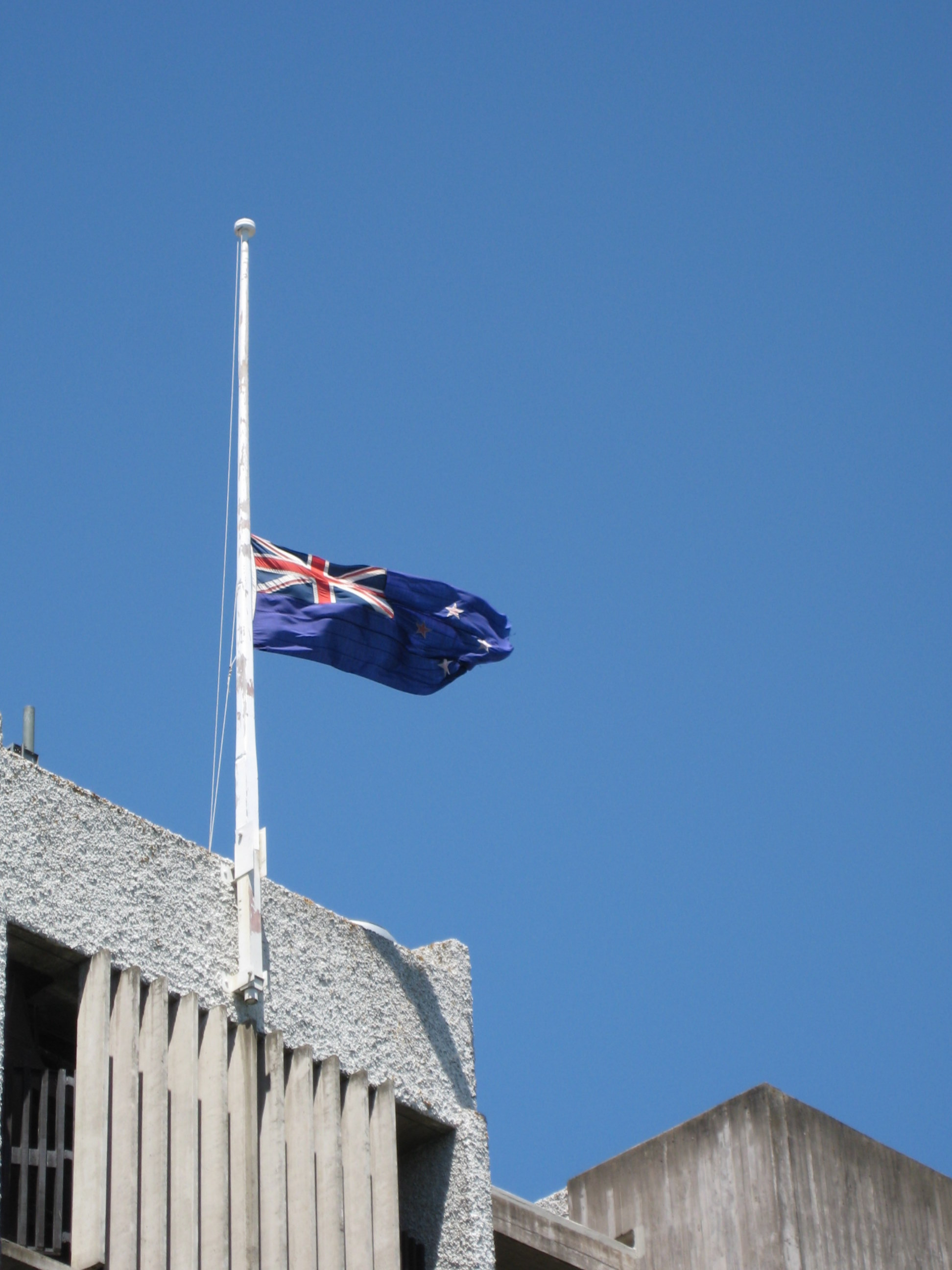 Canadian Flags Half Mast New Zealand Flag at Half-mast