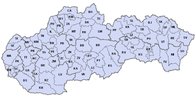 szlovák járások rendszám kódjai