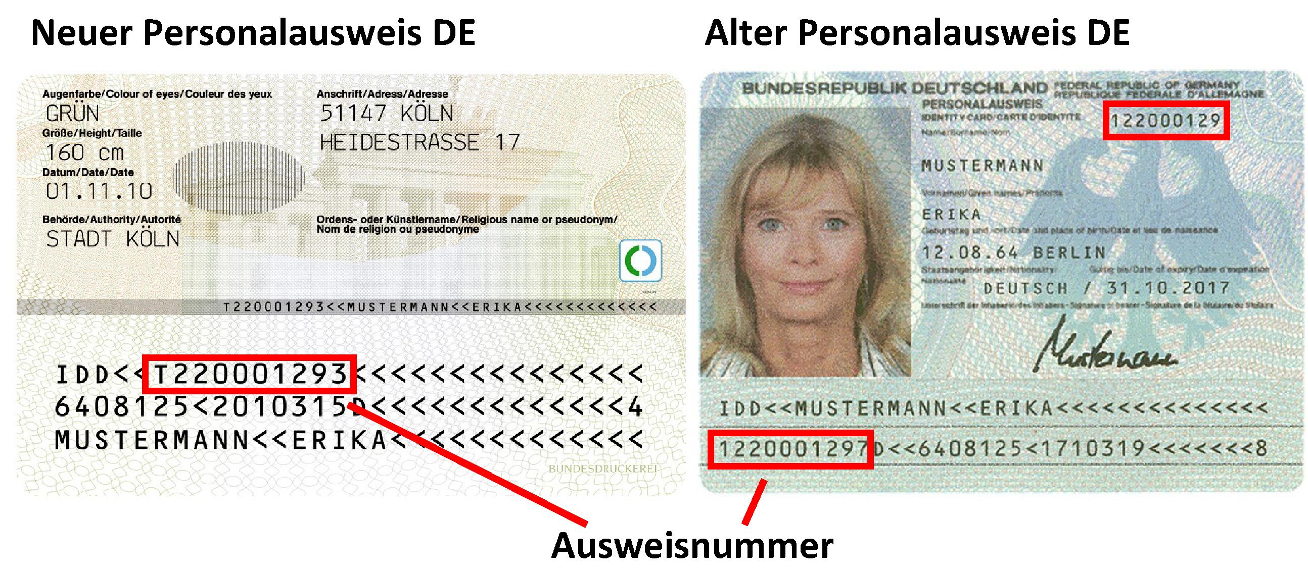 Maschinenlesbare Bereiche auf dem neuen und alten Personalausweis
