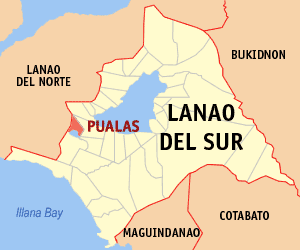 Map of Lanao del Sur showing the location of Pualas