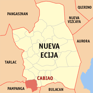 Map of Nueva Ecija showing the location of Cabiao