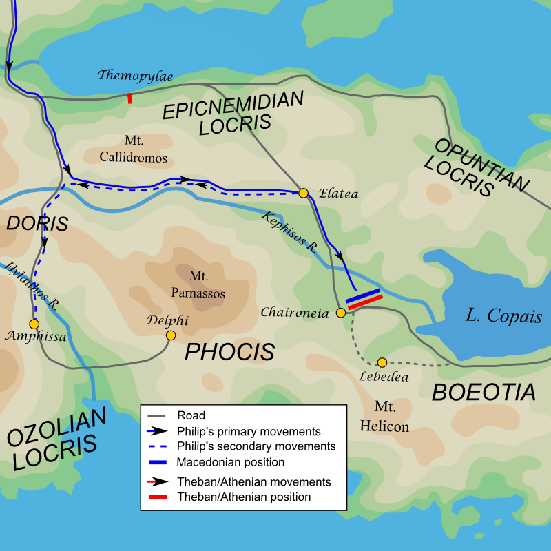 Map of Philip of Macedon's campaign in Greece, 339 BC (based on George Cawkwell, ''Philip of Macedon'', [[Faber & Faber]], 1978).
