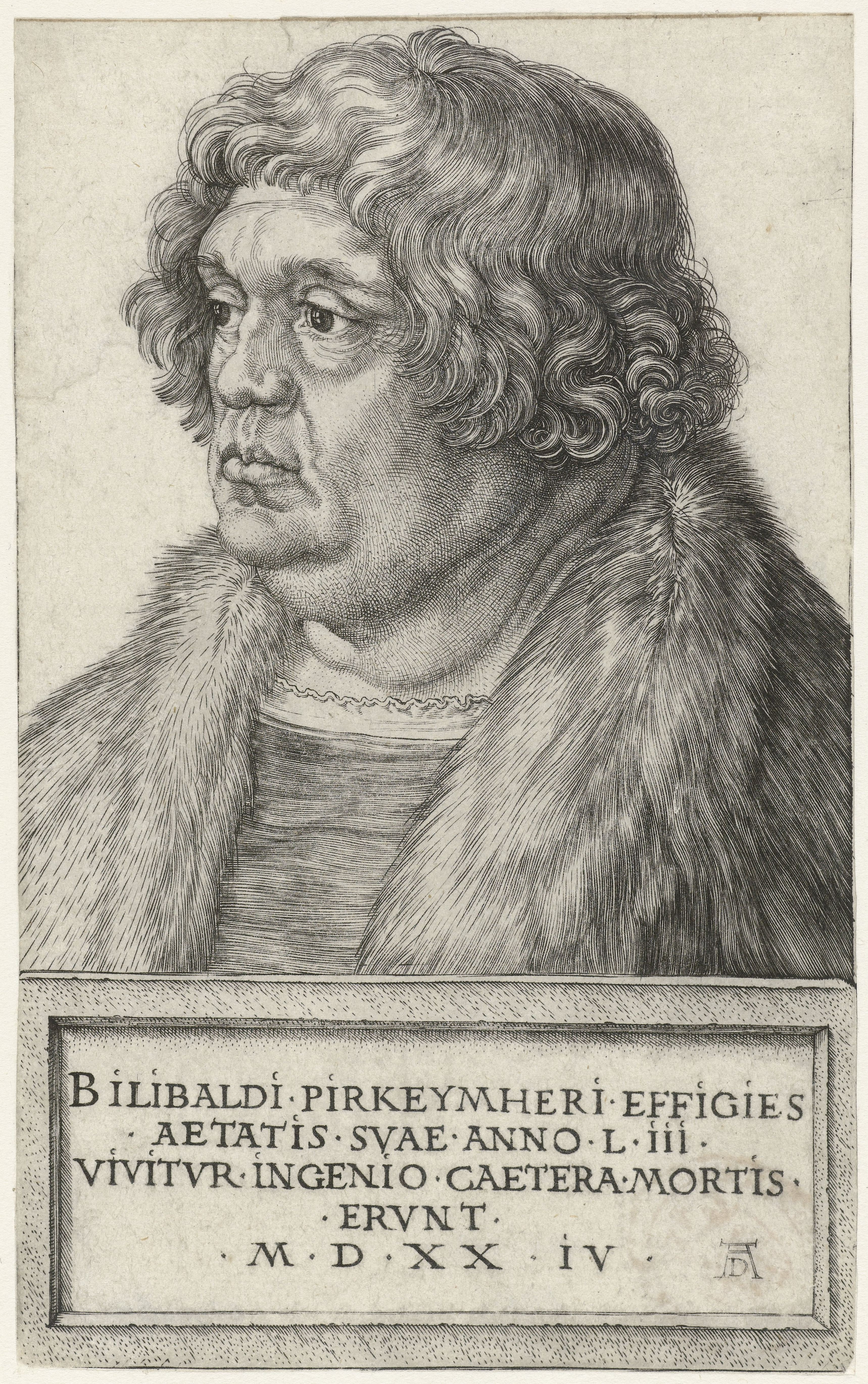 [[Engraving]] of Willibald Pirckheimer at 53 by Albrecht Dürer, 1524. ''We live by the spirit. The rest belongs to death.''