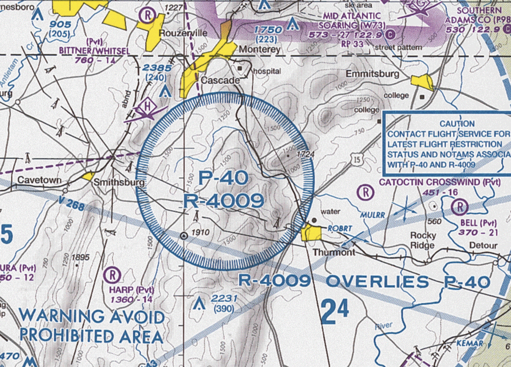 Prohibited Airspace Wikipedia - Us no go zones map