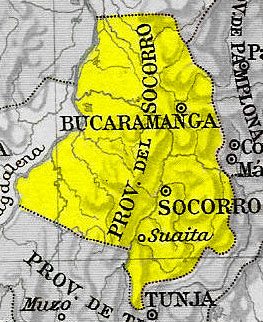 The Socorro Province was the site of the genesis of the independence process. ProvinciaSocorro.jpg