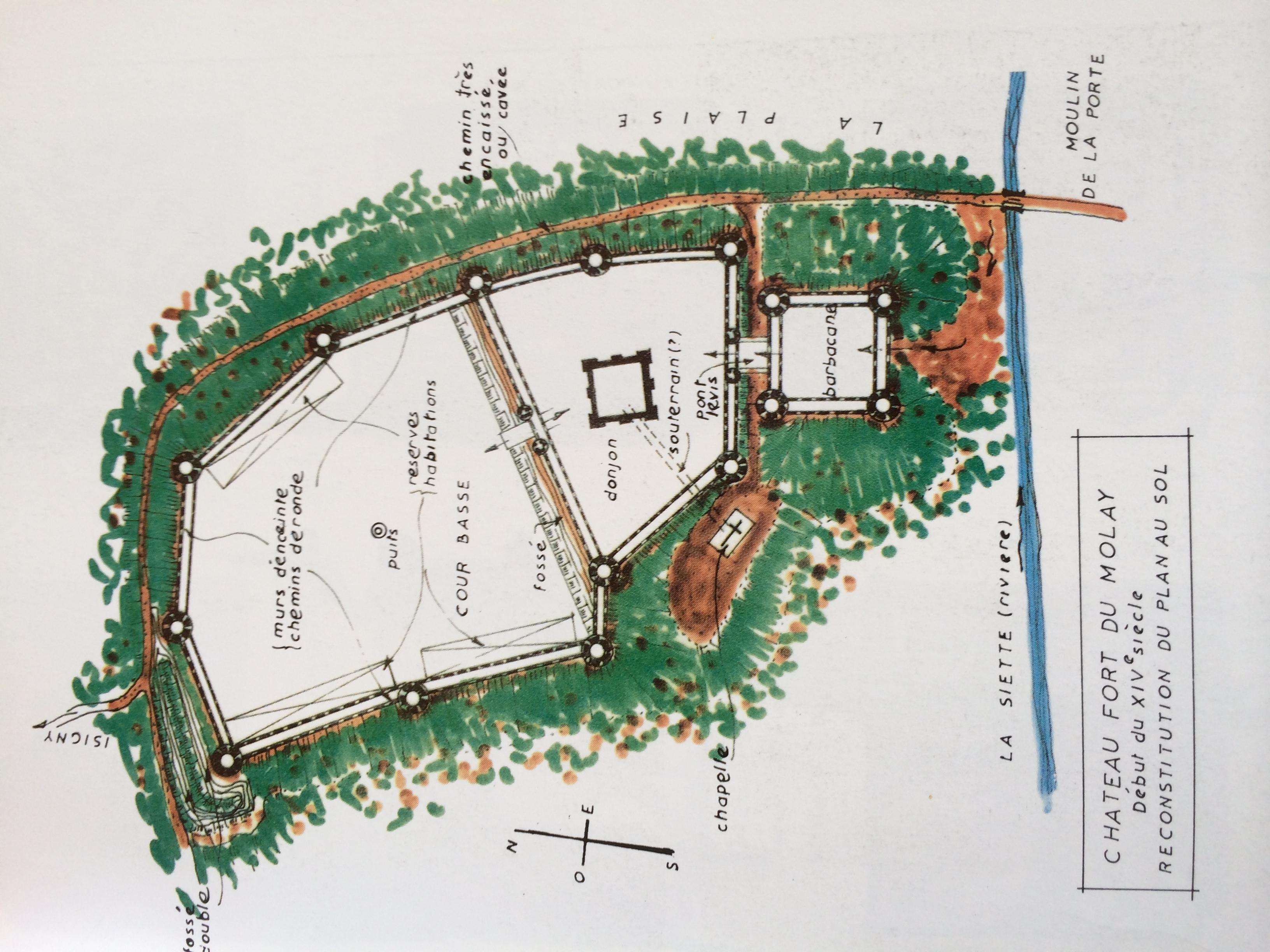 File:Reconstitution du plan au sol du château-fort du Molay début