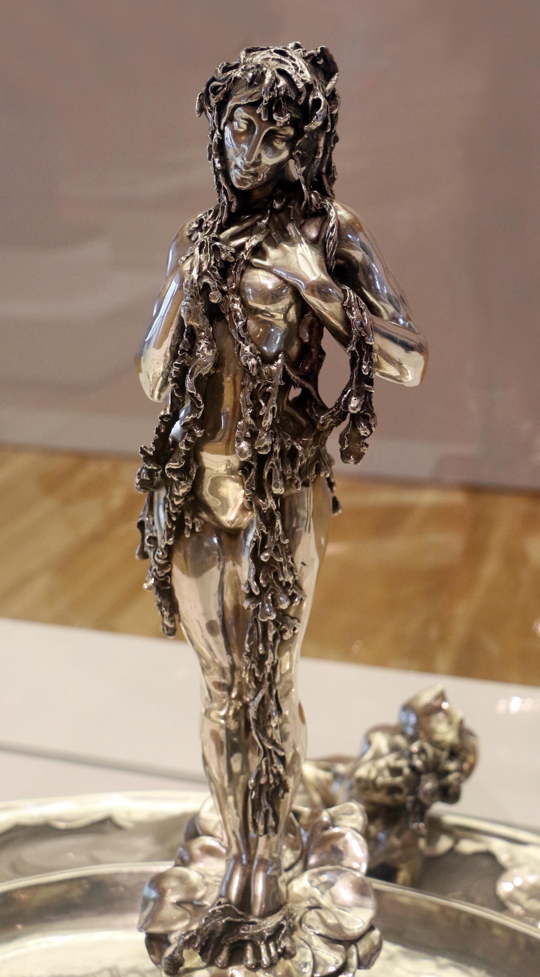 Centro Tavolo In Vetro.File Rene Lalique Centro Tavola Con Figura Femminile Argento E