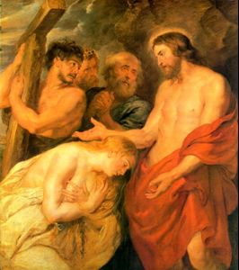 Christ and the Penitent Sinners (1617) by Peter Paul Rubens is a typical example of how Mary Magdalene was portrayed during the Baroque era, emphasizing her erotic allure and blurring the lines between religious and erotic art. RubensSimonCyreneCarriesCross.jpg