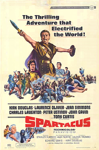Poster for Stanley Kubrick's Spartacus, one of two films in which Olivier appeared in 1960. Spartacus - 1960 - poster.png