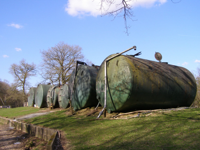 Storage tanks at Pachington Piggery, Harewood Forest - geograph.org.uk - 147540