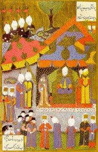 Suleyman receiving Janos Zapolyai's Wife-Suleymanname.jpg