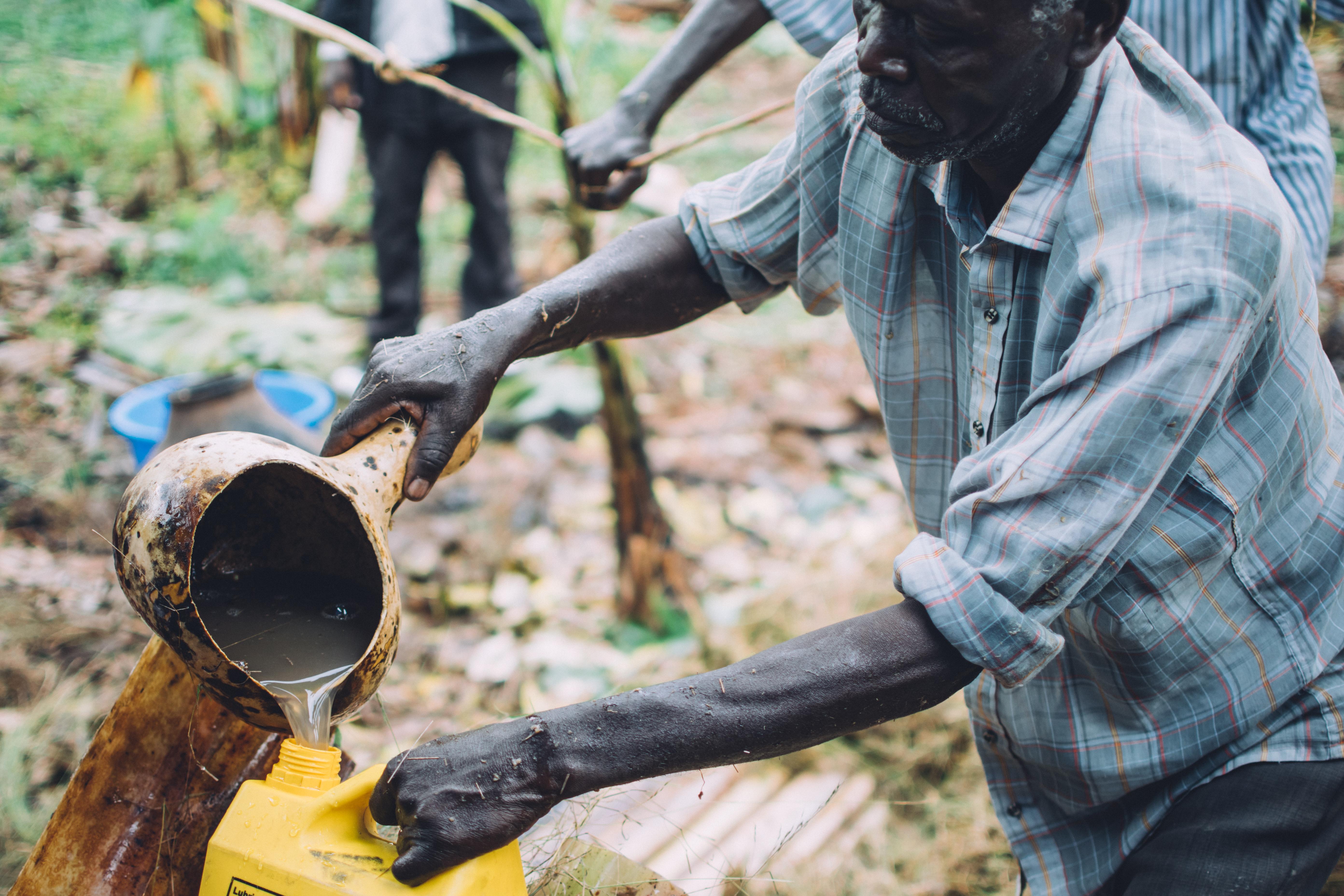 Un homme qui confectionne de la bière de banane dans l'ouest de l'Uganda