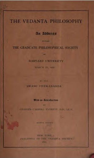 Vedanta Philosophy An address before the Graduate Philosophical Society 1901 cover page.jpg